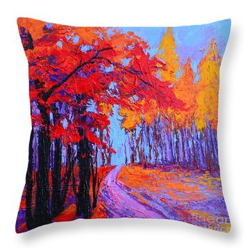 Throw Pillow featuring the painting Road Within - Enchanted Forest Series - Modern Impressionist Landscape Painting - Palette Knife by Patricia Awapara