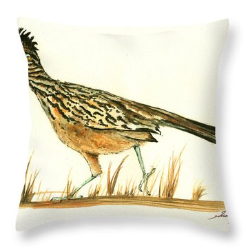 Roadrunner Bird Throw Pillow