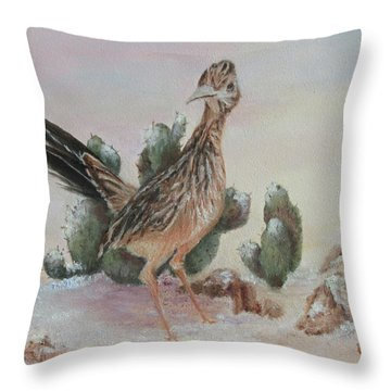 Roadrunner In Snow Throw Pillow
