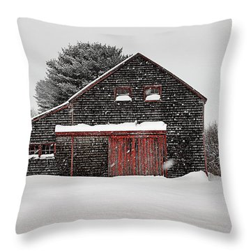 Roadside Barn In The Storm Throw Pillow