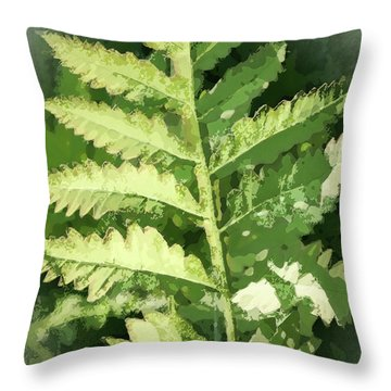Roadside Fern, Abstract 2 - Throw Pillow
