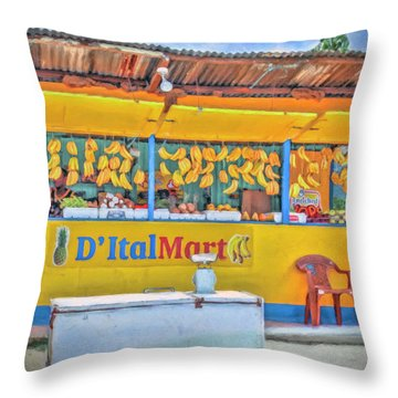 Roadside Vendor Throw Pillow