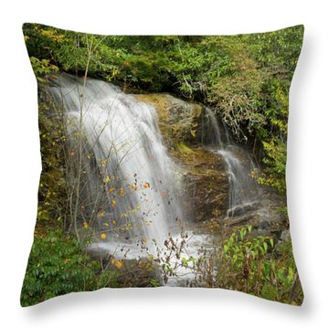Throw Pillow featuring the photograph Roadside Waterfall In North Carolina by Mike McGlothlen