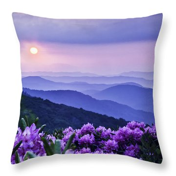Roan Mountain Sunset Throw Pillow by Rob Travis