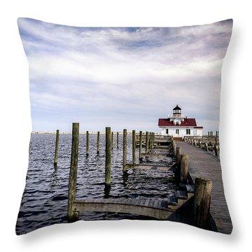 Roanoke Lighthouse - Manteo North Carolina Throw Pillow