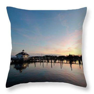 Roanoke Marshes Lighthouse At Dusk Throw Pillow