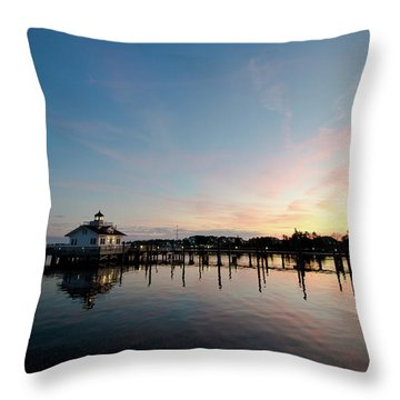 Roanoke Marshes Lighthouse At Dusk Throw Pillow