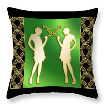 Throw Pillow featuring the digital art Roaring 20s Girls - Chuck Staley by Chuck Staley