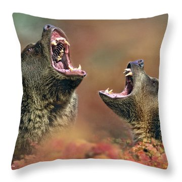 Roaring Bears Throw Pillow