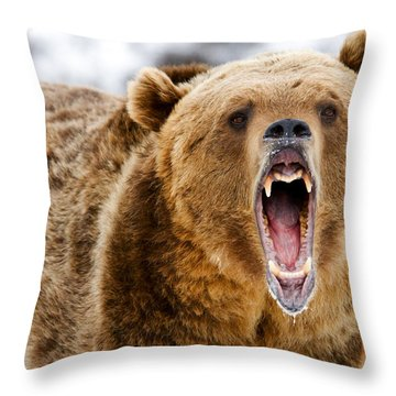 Roaring Grizzly Bear Throw Pillow