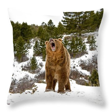 Roaring Grizzly In Winter Throw Pillow