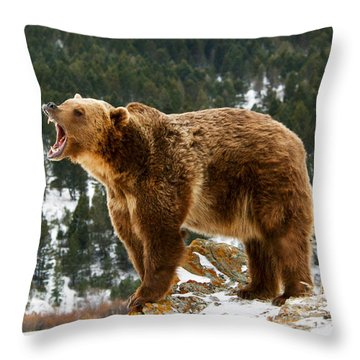 Roaring Grizzly On Rock Throw Pillow