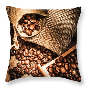 Roasted Coffee Beans In Drawer And Bags On Table Throw Pillow