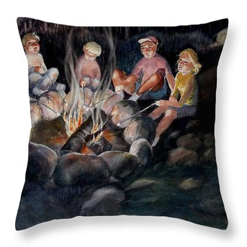 Roasting Marshmallows Throw Pillow by Marilyn Jacobson