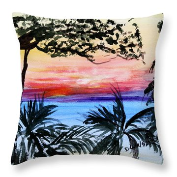 Roatan Sunset Throw Pillow by Donna Walsh