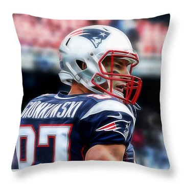 Rob Gronkowski Collection Throw Pillow by Marvin Blaine