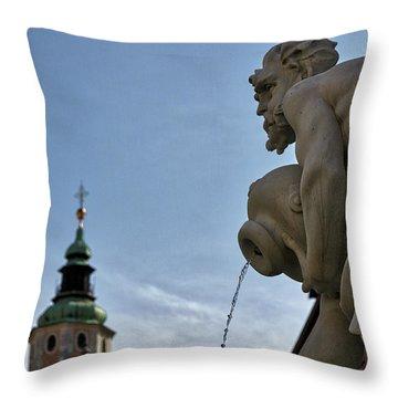 Throw Pillow featuring the photograph Robba Fountain - Ljubljana Slovenia by Stuart Litoff