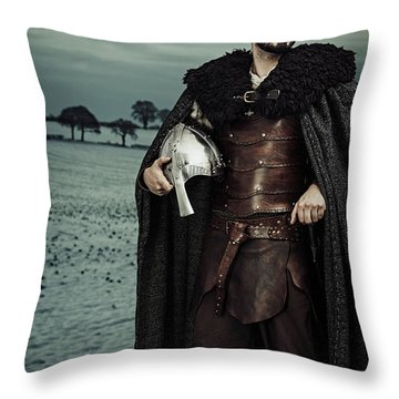Robed Viking With Helmet Throw Pillow