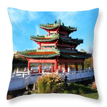 Robert D. Ray Asian Garden Throw Pillow by Kathy M Krause