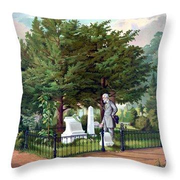 Robert E. Lee Visits Stonewall Jackson's Grave Throw Pillow