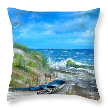 Robert Moses Beach Throw Pillow by Patrice Torrillo
