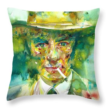 Throw Pillow featuring the painting Robert Oppenheimer - Watercolor Portrait.2 by Fabrizio Cassetta