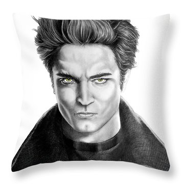 Robert Pattinson - Twilight's Edward Throw Pillow by Murphy Elliott