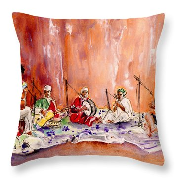 Robert Plant And Jimmy Page In Morocco Throw Pillow by Miki De Goodaboom