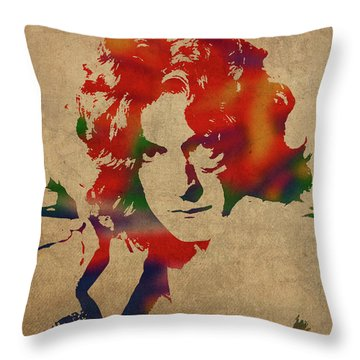 Robert Plant Led Zeppelin Watercolor Portrait Throw Pillow