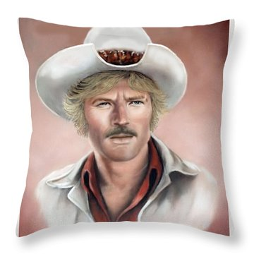 Throw Pillow featuring the painting Robert Redford by Loxi Sibley