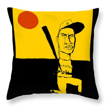 Roberto Clemente Pittsburgh Pirates Throw Pillow by Jay Perkins