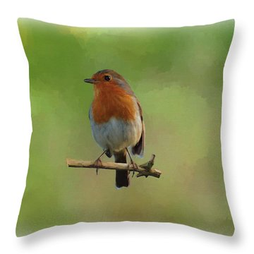 Throw Pillow featuring the digital art Robin-1 by Paul Gulliver
