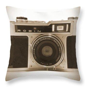 Robin 35mm Rangefinder Camera Throw Pillow
