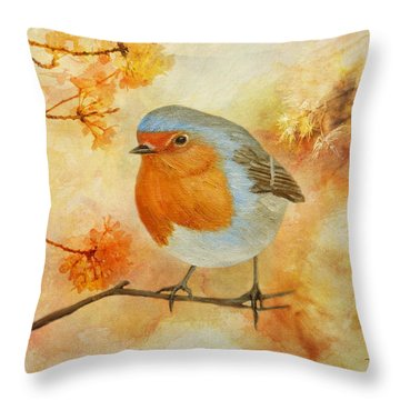 Throw Pillow featuring the painting Robin Among Flowers by Angeles M Pomata