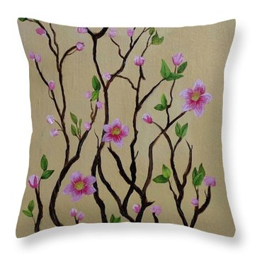 Robin And Spring Blossoms Throw Pillow