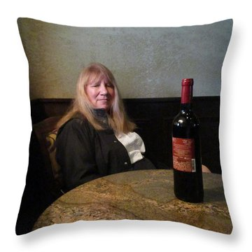 Robin At The Cafe Throw Pillow