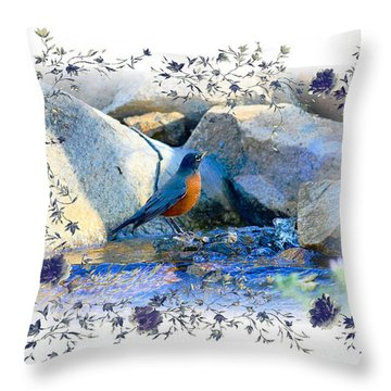 Throw Pillow featuring the photograph Robin by Athala Carole Bruckner
