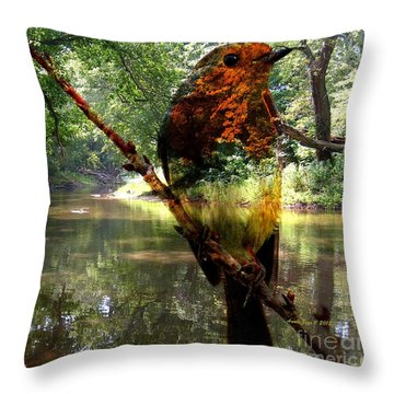 Robin By The River Throw Pillow