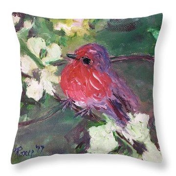Robin Chick In White Cherry Blossoms Throw Pillow