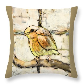 Throw Pillow featuring the mixed media Robin Collage by Carrie Joy Byrnes