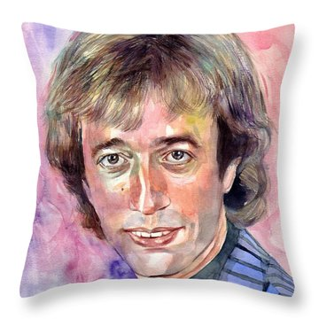 Robin Gibb Portrait Watercolor Throw Pillow
