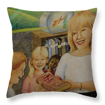 Robin Gives The Book Of Stories To The Children Throw Pillow