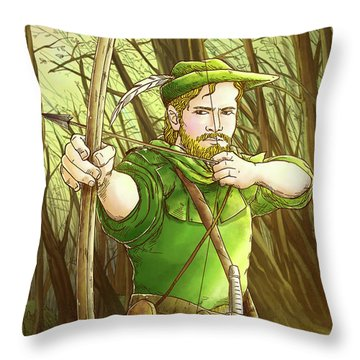Robin  Hood In Sherwood Forest Throw Pillow