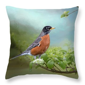 Robin In Chinese Fringe Tree Throw Pillow by Bonnie Barry