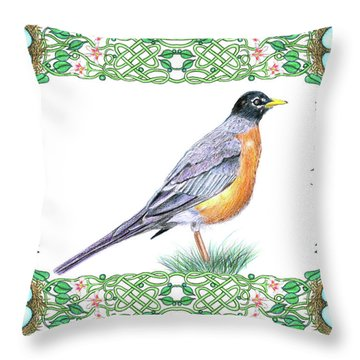 Robin In Spring Throw Pillow