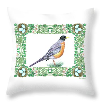 Robin In Spring Throw Pillow by Lise Winne