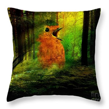 Robin In The Forest Throw Pillow