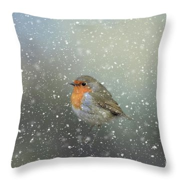 Robin In Winter Throw Pillow