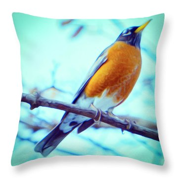 Robin Red Breast In Winter - Impressionism Throw Pillow