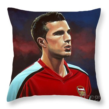 Robin Van Persie Throw Pillow by Paul Meijering